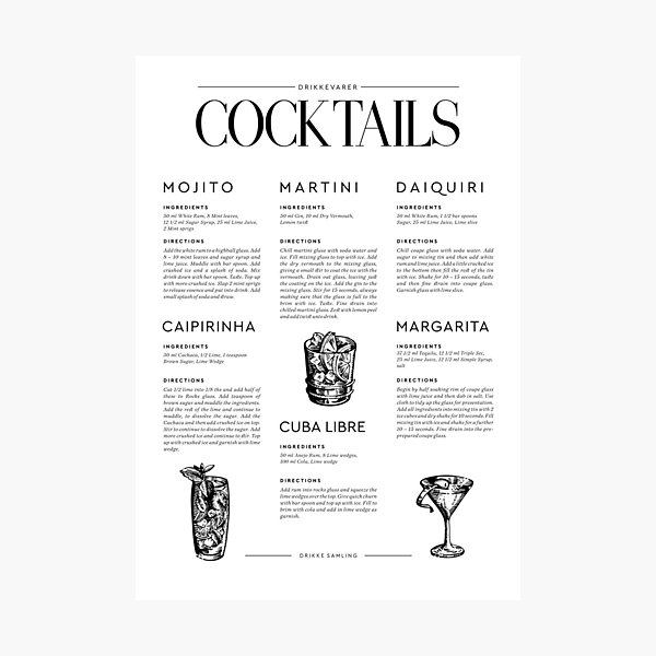 Cocktail Recipes Photographic Print