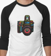 Black Camera Men's Baseball ¾ T-Shirt