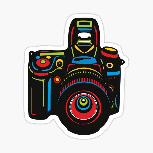 Black Camera on blue background Sticker