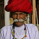 Indian man with a big moustache - India by Christophe Dur