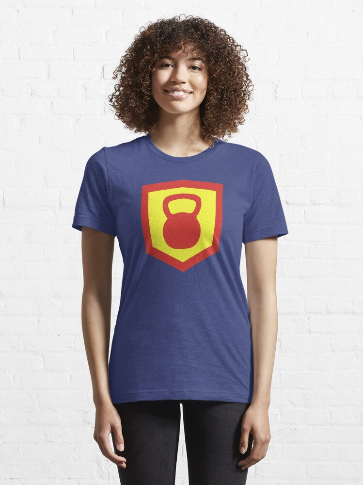 Alternate view of Kettlebell Knight - Red/Yellow Weightlifter Design Essential T-Shirt