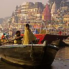 The mysterious girl on the boat - India by Christophe Dur