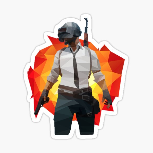 PUBG Low Poly avec explosion Low Poly Sticker