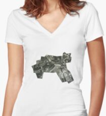 Cat collage Women's Fitted V-Neck T-Shirt