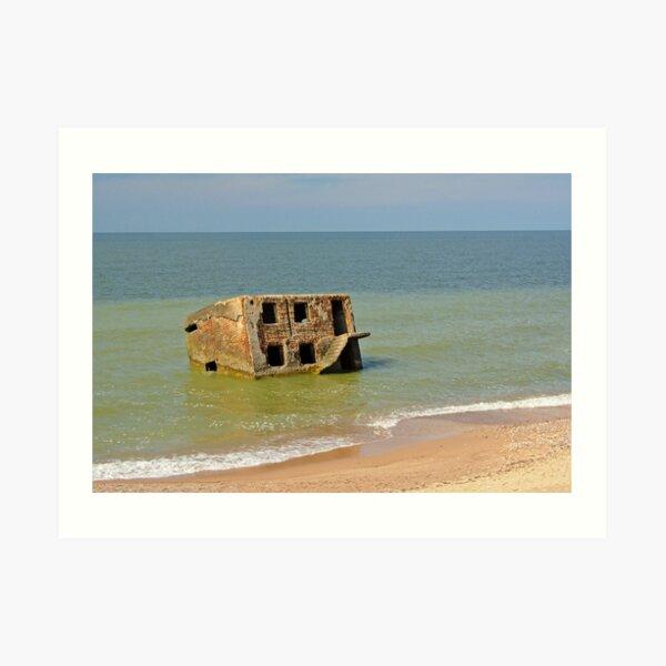 Abandoned bunker in the sea Art Print