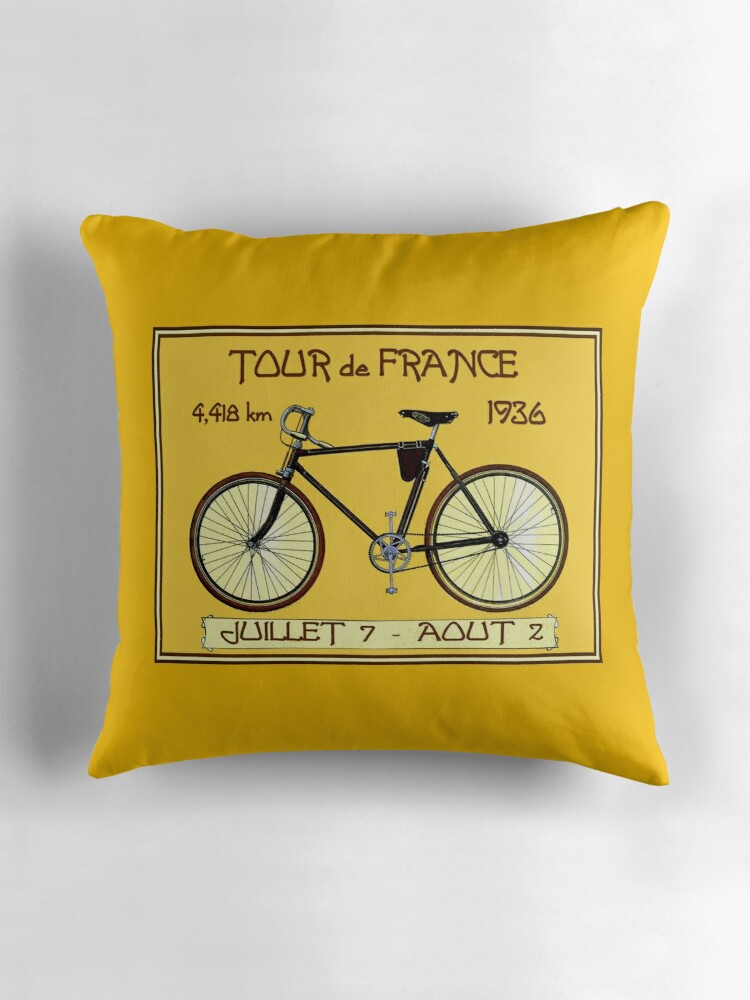 Bicycle Print Throw Pillow :