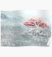 The Old - White and Red Tree in the Snow Poster