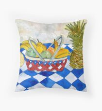 fruit basket still life 5  Throw Pillow