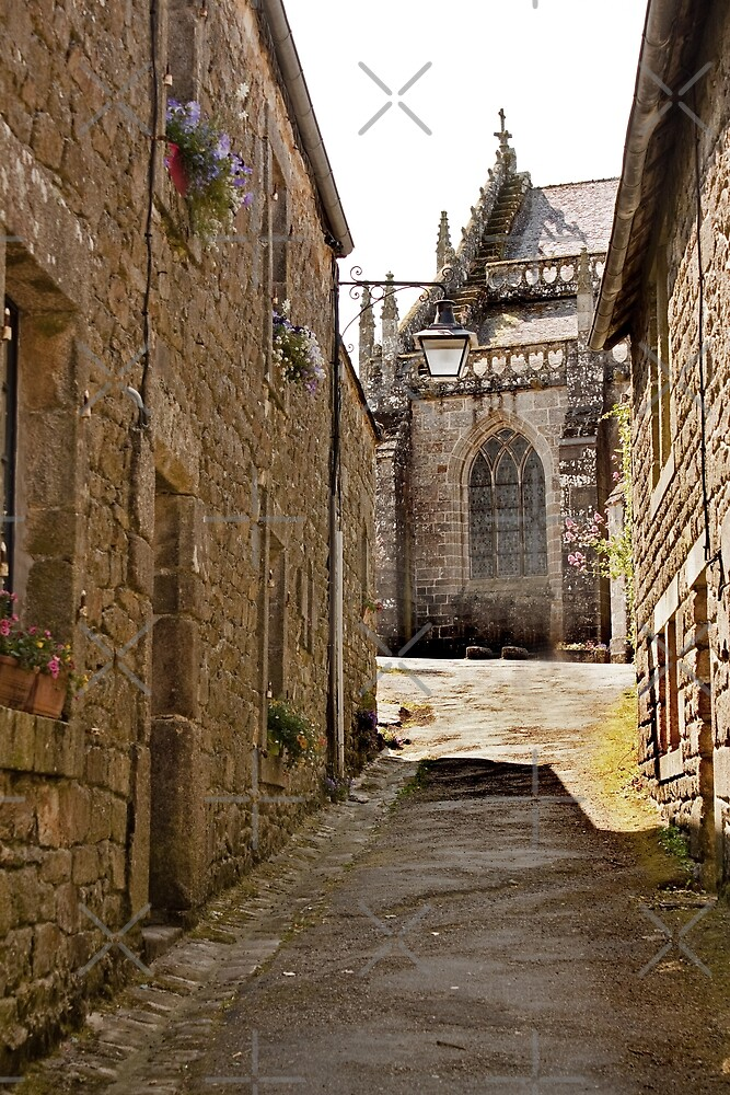 Locronan Church seen through a Narrow Street - Brittany, France by Buckwhite
