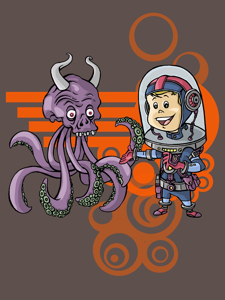 SpaceKid and the Purple Squiggle-Horned Skulltupus by stvfoolery