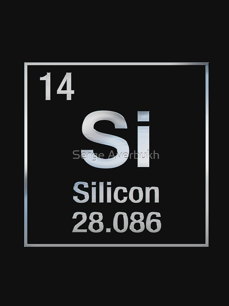 Periodic Table Of Elements Silicon Si On Black Canvas Unisex T