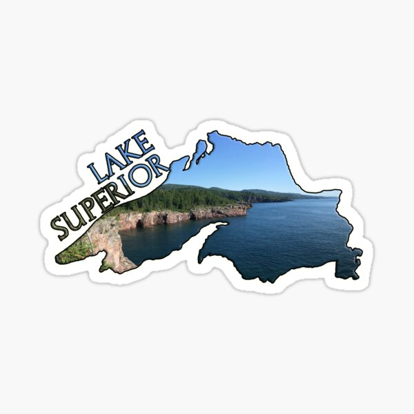 Lake Superior Outline with North Shore View Sticker