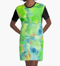 In the Forest in Spring Abstract Watercolor Collage Graphic T-Shirt Dress