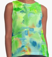 In the Forest in Spring Abstract Watercolor Collage Contrast Tank