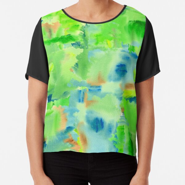 In the Forest in Spring Abstract Watercolor Collage Chiffon Top