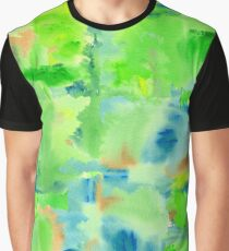 In the Forest in Spring Abstract Watercolor Collage Graphic T-Shirt