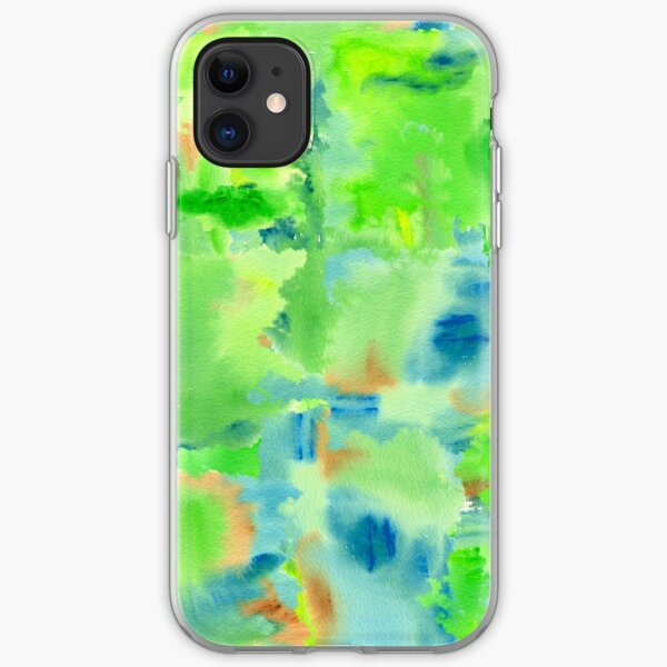 In the Forest in Spring Abstract Watercolor Collage iPhone Soft Case