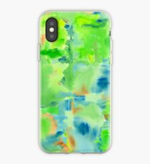 In the Forest in Spring Abstract Watercolor Collage iPhone Case