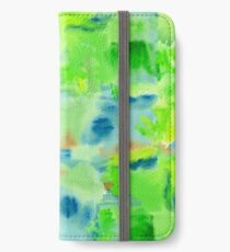 In the Forest in Spring Abstract Watercolor Collage iPhone Wallet/Case/Skin