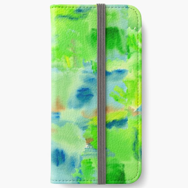 In the Forest in Spring Abstract Watercolor Collage iPhone Wallet