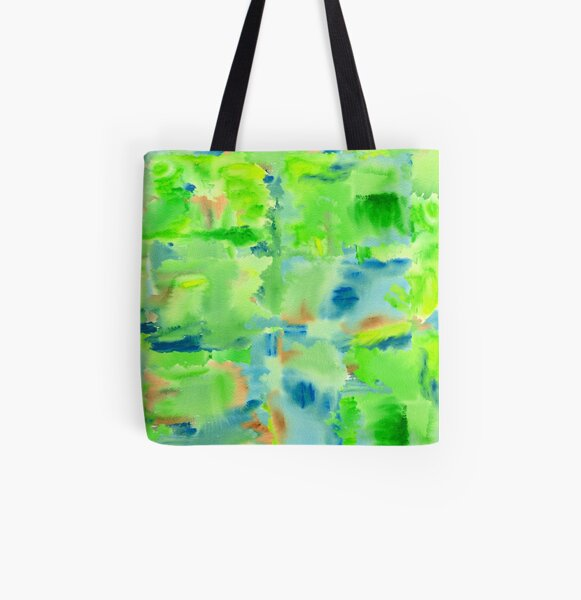 In the Forest in Spring Abstract Watercolor Collage All Over Print Tote Bag