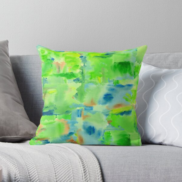 In the Forest in Spring Abstract Watercolor Collage Throw Pillow