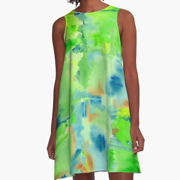 In the Forest in Spring Abstract Watercolor Collage A-Line Dress