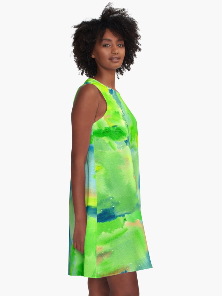 Alternate view of In the Forest in Spring Abstract Watercolor Collage A-Line Dress