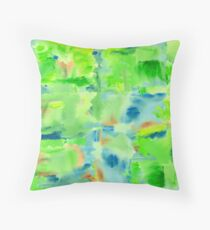 In the Forest in Spring Abstract Watercolor Collage Floor Pillow
