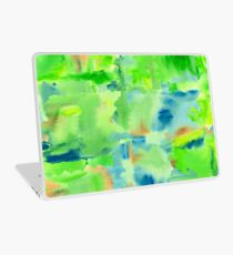 In the Forest in Spring Abstract Watercolor Collage Laptop Skin