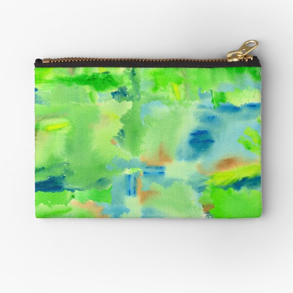 In the Forest in Spring Abstract Watercolor Collage Zipper Pouch