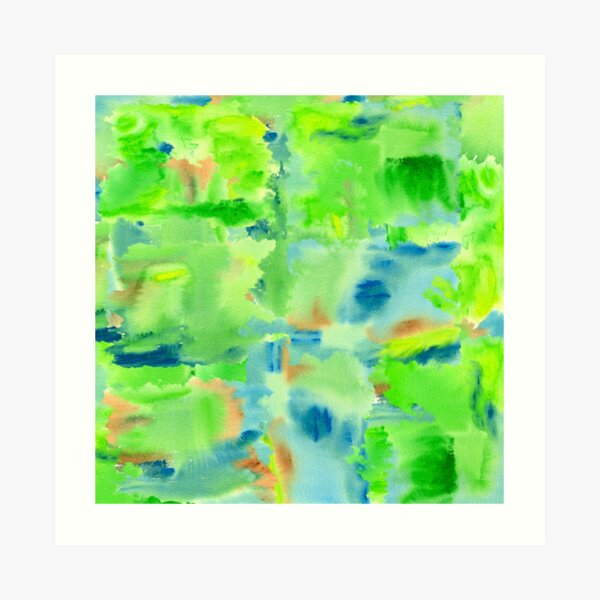 In the Forest in Spring Abstract Watercolor Collage Art Print