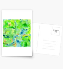 In the Forest in Spring Abstract Watercolor Collage Postcards