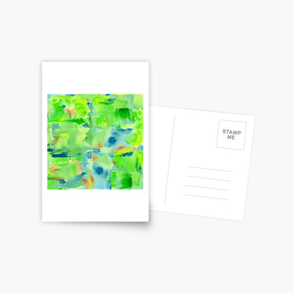 In the Forest in Spring Abstract Watercolor Collage Postcard