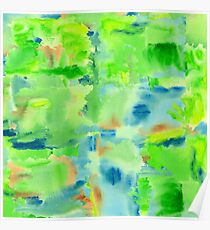In the Forest in Spring Abstract Watercolor Collage Poster