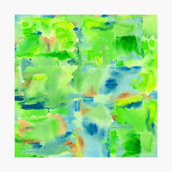 In the Forest in Spring Abstract Watercolor Collage Photographic Print