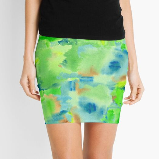 In the Forest in Spring Abstract Watercolor Collage Mini Skirt