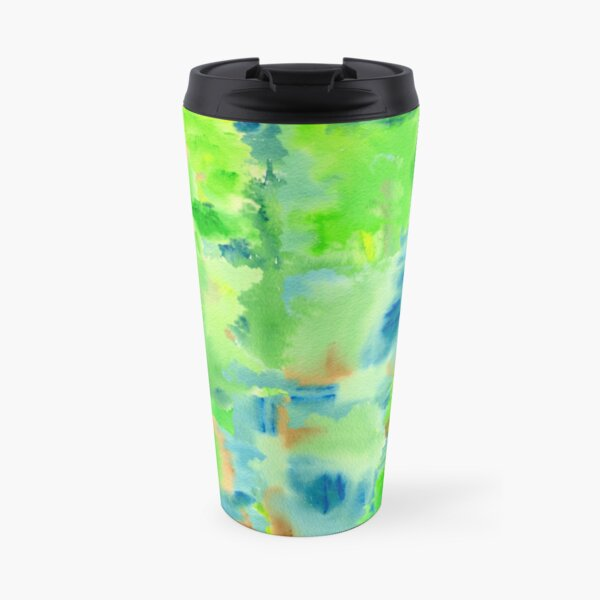 In the Forest in Spring Abstract Watercolor Collage Travel Mug