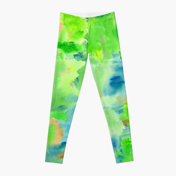 In the Forest in Spring Abstract Watercolor Collage Leggings