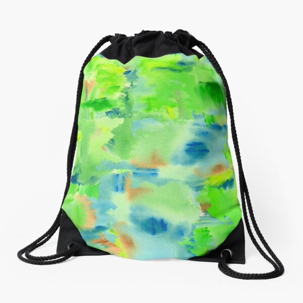 In the Forest in Spring Abstract Watercolor Collage Drawstring Bag
