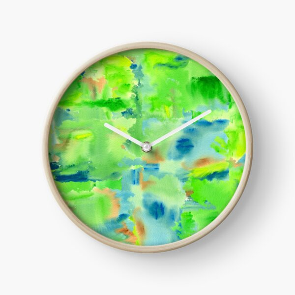 In the Forest in Spring Abstract Watercolor Collage Clock