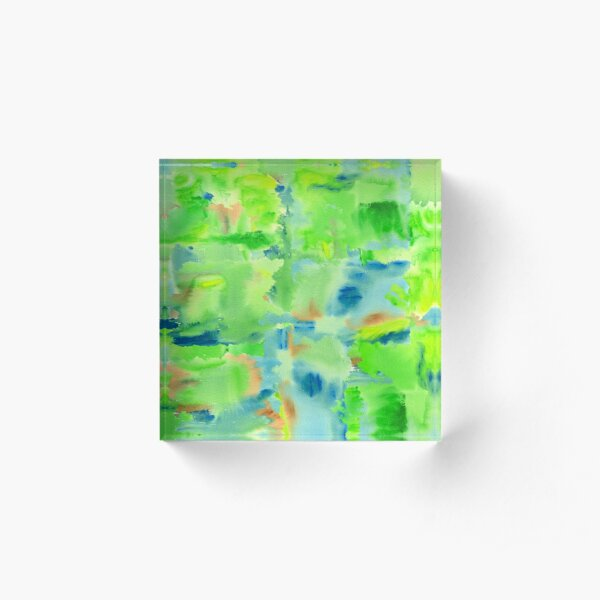 In the Forest in Spring Abstract Watercolor Collage Acrylic Block