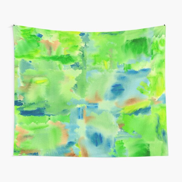 In the Forest in Spring Abstract Watercolor Collage Tapestry