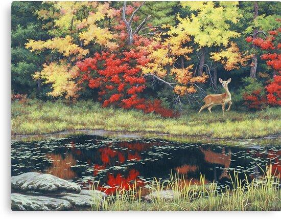Autumn Pond Deer by Ze Zhao