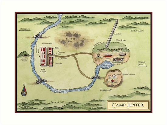 Camp Jupiter Map Art Prints by bumblebeerosee Redbubble