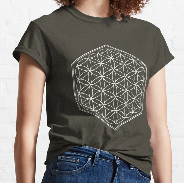 Hex Outline Flower of Life (dark background) Classic T-Shirt