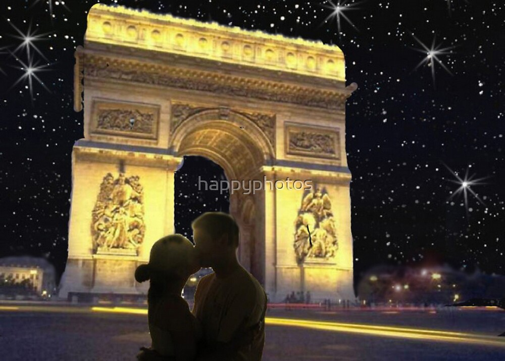 Romantic star lit sky in Paris by happyphotos