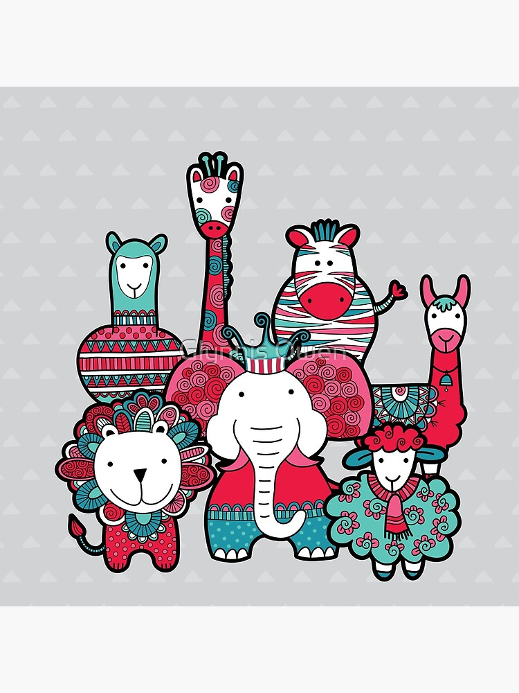 Doodle Animal Friends Pink & Grey by goggo101