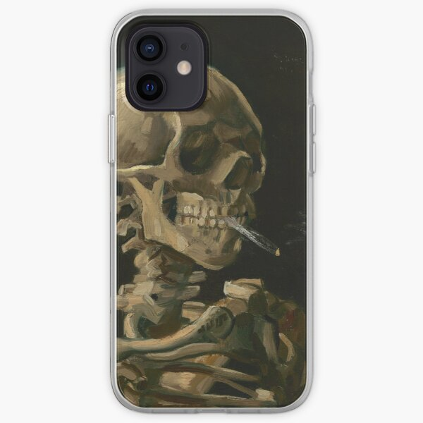 Skull of a Skeleton with Burning Cigarette iPhone Soft Case