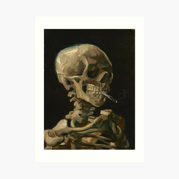 Skull of a Skeleton with Burning Cigarette Art Print